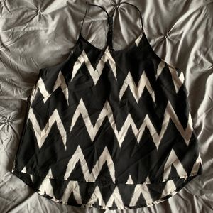 Black and white chevron tank blouse